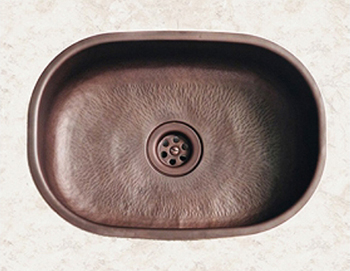 Herbeau 4301-61 Seine Oval Bowl Sink - Hammered Weathered Copper
