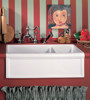 Herbeau 4613-37 Luberon Fireclay Double Farm House Kitchen Sink - Red Vesuve (Pictured in White)