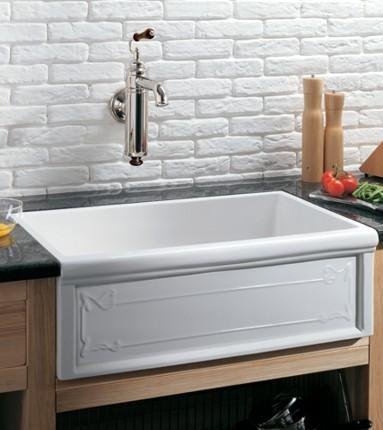 Farmhouse Ceramic Sink : ... Fireclay Single Bowl Farmhouse Kitchen Sink - White - FaucetDepot.com