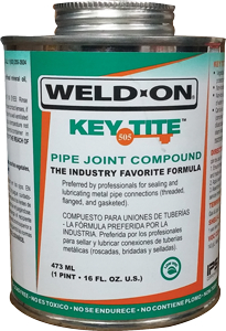 IPS Weld-On 10068 1/2 Pint 505 Key Tite Green Waterproof Metal Pipe Thread Sealant