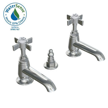 Jado 845/103/144 Savina Pillar Taps Lavatory Faucet with Cross Handles - Brushed Nickel (Pictured in Chrome)
