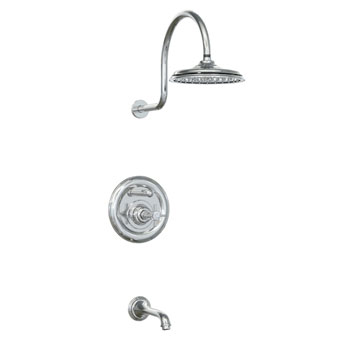 Jado 845/400/144 Savina Pressure Balance Tub & Shower Set with Cross Handle - Brushed Nickel (Pictured in Chrome)