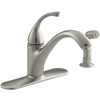 Kohler K-10412-BN Forte Single-Control Kitchen Faucet w/Escutcheon & Sidespray - Brushed Nickel