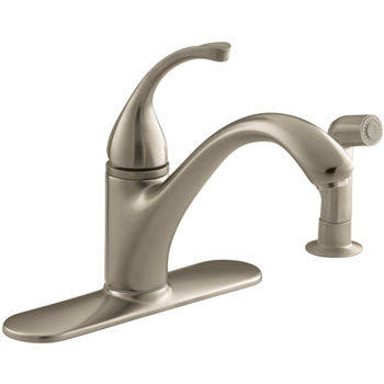 Kohler K-10412-BV Forte Single-Control Kitchen Faucet w/Escutcheon & Sidespray - Vibrant Brushed Bronze