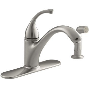 Kohler K-10412-VS Forte Single-Control Kitchen Faucet w/Escutcheon & Sidespray - Vibrant Stainless (Pictured in Brushed Nickel)