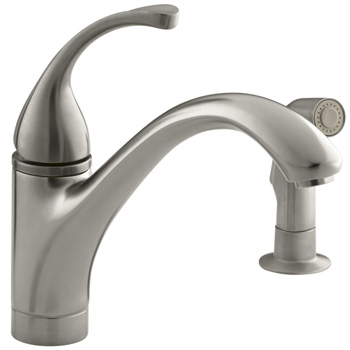 Kohler K-10416-BN Forte Single Control Kitchen Faucet with Side Spray - Brushed Nickel