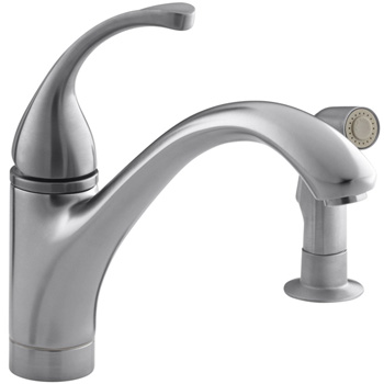Kohler K-10416-G Forte Single Control Kitchen Faucet with Side Spray - Brushed Chrome