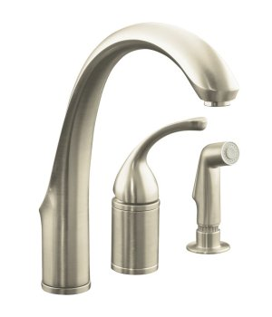 Kohler K-10430-BN Forte Single Lever Handle Kitchen Faucet with Side Spray - Brushed Nickel