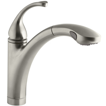 Kohler K-10433-BN Forte Single Handle Pull Out Kitchen Faucet - Brushed Nickel