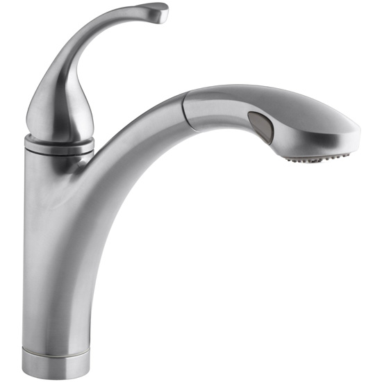 Kohler K-10433-G Forte Single Handle Pull Out Kitchen Faucet - Brushed Chrome