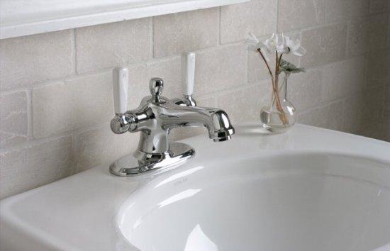 K-10579-4P-CP Kohler Bancroft Monoblock Lavatory Faucet with Porcelain Lever Handles - Chrome