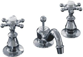 Kohler K-108-3-CP Antique Widespread Lavatory Faucet with 6 Prong Handles - Polished Chrome