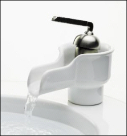 K-11000-96 Kohler Bol Ceramic Faucet - Biscuit with Brush Nickel Handle (shown in White)
