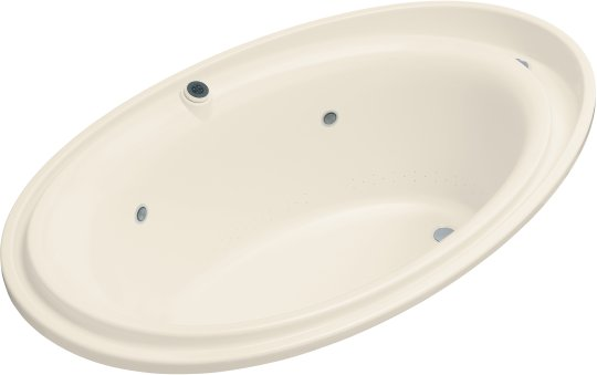 K-1110-GCR-47 Kohler Purist BubbleMassage Whirlpool Bath with Chromatherapy - Almond