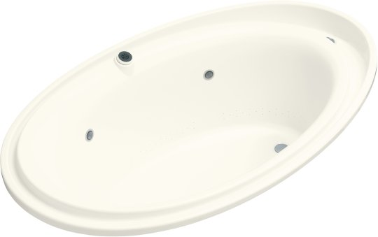 K-1110-GCR-96 Kohler Purist BubbleMassage Whirlpool Bath with Chromatherapy - Biscuit