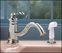 Kohler K-12176-PB Fairfax Single Handle Kitchen Faucet With Side Spray Polished Brass (Shown in Chrome/Polished Brass)