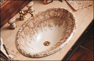 K-14274-BR-96 Kohler Briar Rose Self-Rimming Lavatory in Biscuit