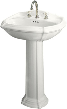Kohler K-2221-8-0 Portait Pedestal Lavatory with Faucet Holes on 8