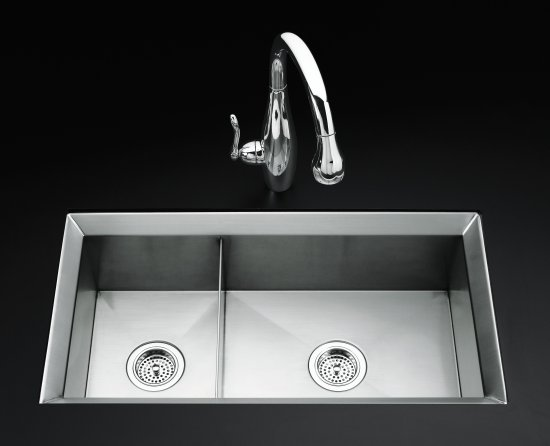 K-3160-H Kohler Poise Large/Medium Double Bowl Undermount Stainless Steel Kitchen Sink