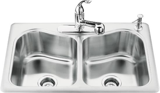 K-3369-4 Kohler Staccato Double Bowl Self Rimming Stainless Steel Kitchen Sink