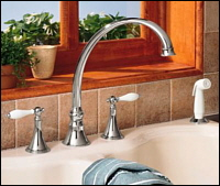 K-377-4P-CP Kohler Finial Traditional Kitchen Sink Faucet Chrome