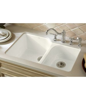 Kohler K-5931-4U-0 Executive Chef Cast Iron Double Bowl Undermount Kitchen Sink - White