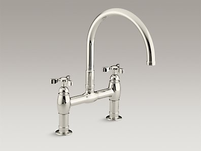 Kohler K-6130-3-SN Parq Deck-Mount Kitchen Bridge Faucet - Vibrant Polished Nickel