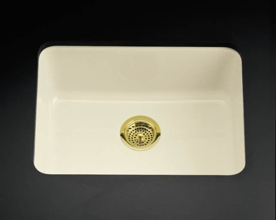 K-6585-0 Kohler Iron/Tones Self-Rimming or Undercounter Single Bowl Kitchen Sink - White (Pictured in Biscuit)