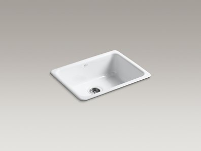K-6585-0 Kohler Iron/Tones Self-Rimming or Undercounter Single Bowl Kitchen Sink - White