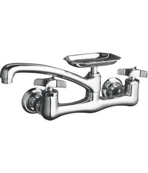 K-7855-4 Kohler Clearwater Two-Handle Wall Mount Kitchen Faucet - Brushed Nickel (Pictured in Polished Chrome)