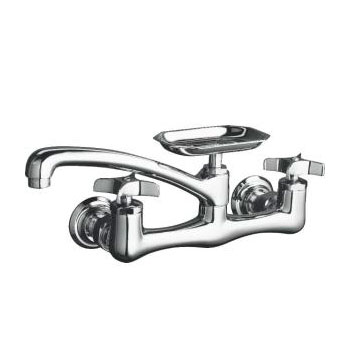 K-7856-3 Kohler Clearwater Two-Handle Wall Mount Kitchen Faucet - Brushed Nickel (Pictured in Polished Chrome)