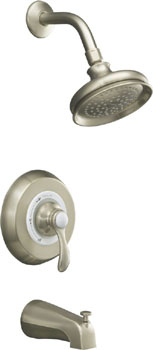 K-T12007-4-BN Kohler Fairfax Rite Temp Pressure Balanced Single Handle Tub & Shower Trim - Brushed Nickel