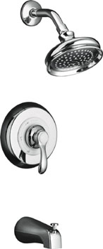 K-T12007-4-CP Kohler Fairfax Rite Temp Pressure Balanced Single Handle Tub & Shower Trim - Chrome