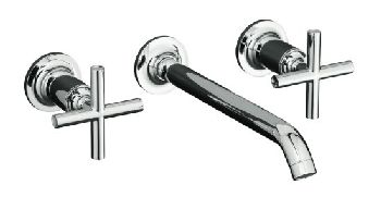 Kohler K-T14415-3 Purist Wall-Mount Lavatory Faucet Trim - Brushed Nickel (Pictured in Polished Chrome)