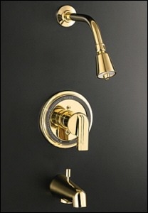 K-T8224-4-BN Kohler Taboret Rite-Temp Pressure-Balancing Bath and Shower Faucet Trim with Lever Handle Brushed Nickel (Shown in Polished Brass with swirl handle)