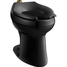 Kohler K-4405-7 Highline 1.28 GPF Flushometer Elongated Toilet Bowl, Requires Seat - Black