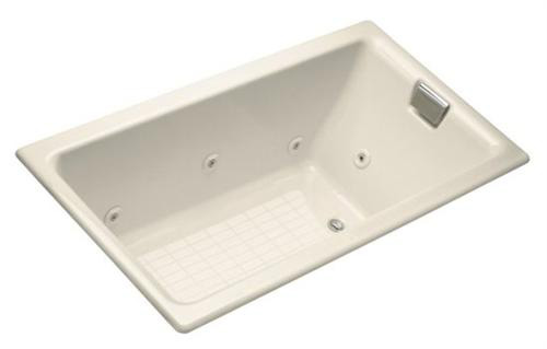 Kohler K-856-RH-47 Tea-for-Two 5.5' Drop-In Whirlpool with Right-Hand Drain - Almond