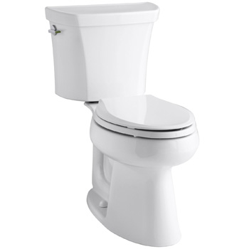 Kohler K-3989-0 Wellworth Highline Two-Piece Dual-Flush Elongated Toilet with Class Five Flush System and Left-Hand Trip Lever - White
