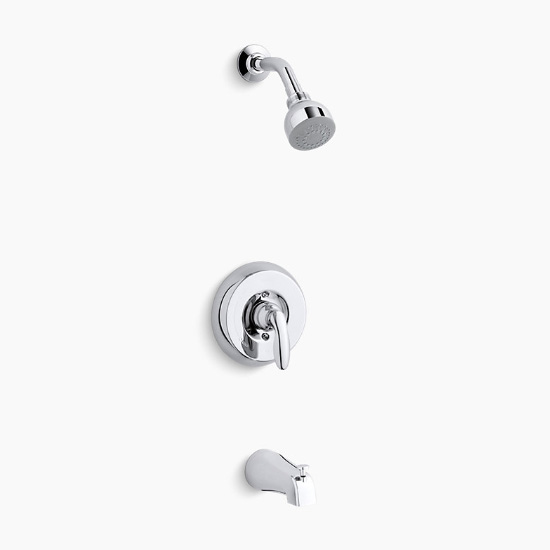 Kohler K-TS15601-4G-CP Coralais Rite-Temp Bath and Shower Valve Trim with Lever Handle, NPT Spout and 1.75 gpm Showerhead - Chrome