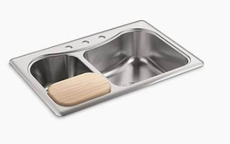 Kohler-K-3361-3-Staccato-Large-Medium-Double-Bowl-Self-Rimming-Stainless-Steel-Three-Hole-Kitchen-Sink