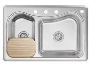 Kohler K-3361-4-NA Staccato Self-Rimming Kitchen Sink- 4 Hole Faucet Drilling - Stainless Steel (Faucet and Some Accessories Not Included)