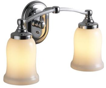 Kohler K-11422-BN Bancroft Double Wall Sconce - Vibrant Brushed Nickel (Pictured in Chrome)