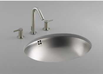 Kohler K-2609-NA Bachata Undercounter Lavatory Sink with Overflow - Stainless Steel (Faucet Not Included)