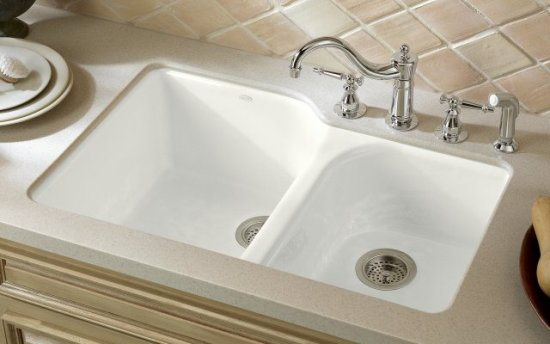 Kohler K-5931-4U-FD Executive Chef Undercounter Kitchen Sink - Cane Sugar (Pictured in White) (Fauce and Accessories Not Included)