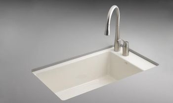 Kohler K-6410-2-KA Indio Undercounter Single Basin Sink with Two-Hole Faucet Drilling - Black and Tan (Faucet and Accessories Not Included)(Pictured in Biscuit)
