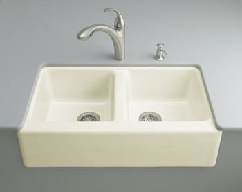 Kohler K-6534-4U-FD Hawthorne Undercounter Apron-Front Kitchen Sinks - Cane Sugar (Faucet and Accessories Not Included) (Pictured in Biscuit)