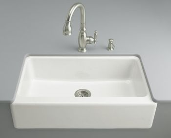 Kohler K-6546-4U-FD Dickinson Undercounter Apron-Front Kitchen Sink - Cane Sugar (Faucet and Accessories Not Included) (Pictured in White)