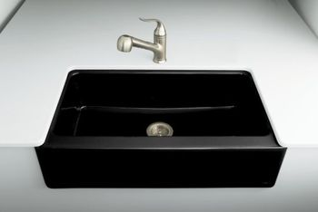 Kohler K-6546-4U-47 Dickinson Undercounter Apron-Front Kitchen Sink - Almond (Faucet Not Included)