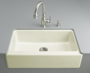 FF Dickinson Undercounter Apron-Front Kitchen Sink - Sea Salt (Faucet ...