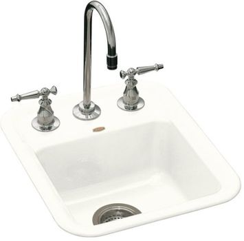 Kohler K-6560-2-0 Aperitif Self-Rimming Entertainment Sink With 2-Hole Drilling For 4